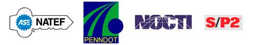 NATEF, PENNDOT, NOCTI, and S/P2 logos