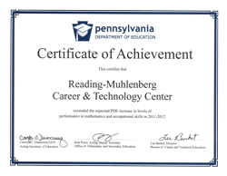Certificate of Achievement for student performance in math and occupational skills