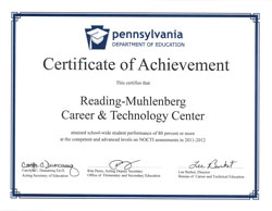 Certificate of Achievement for student performance on NOCTI assessments